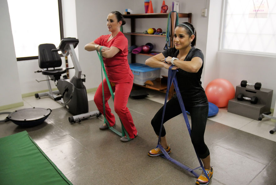 Two women doing exercises