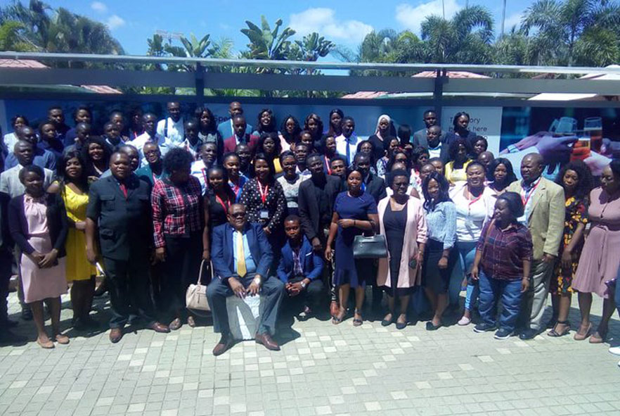 A group photo of members of the Zambia Society of Physiotherapy