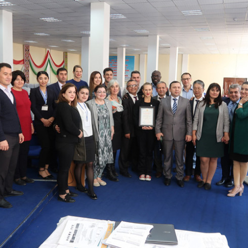 Attendees at the stakeholders' meeting in Tajikistan