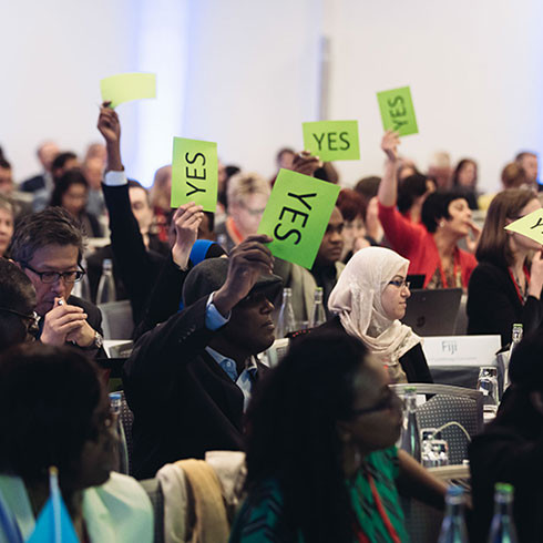 Photograph of members voting at World Physiotherapy general meeting