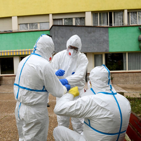 Healthcare workers in PPE during the COVID-19 pandemic