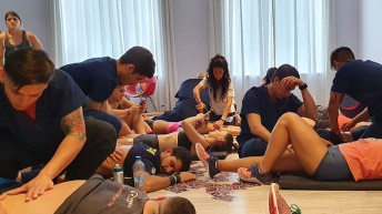 Photograph showing physiotherapy students in Argentina