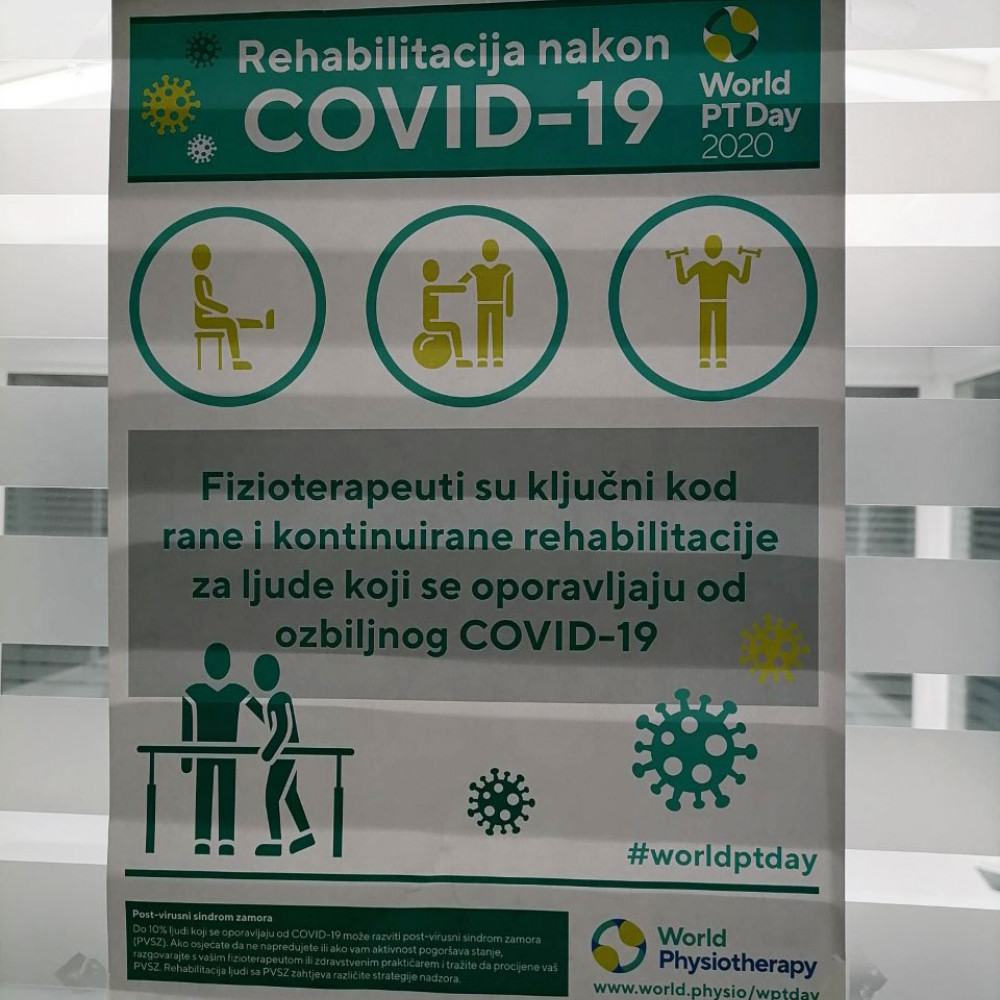 Photograph of World PT Day 2020 materials on display in Bosnia and Herzegovina