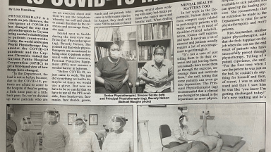 Image of newspaper article in the Ghana Chronicle to mark World PT Day 2020